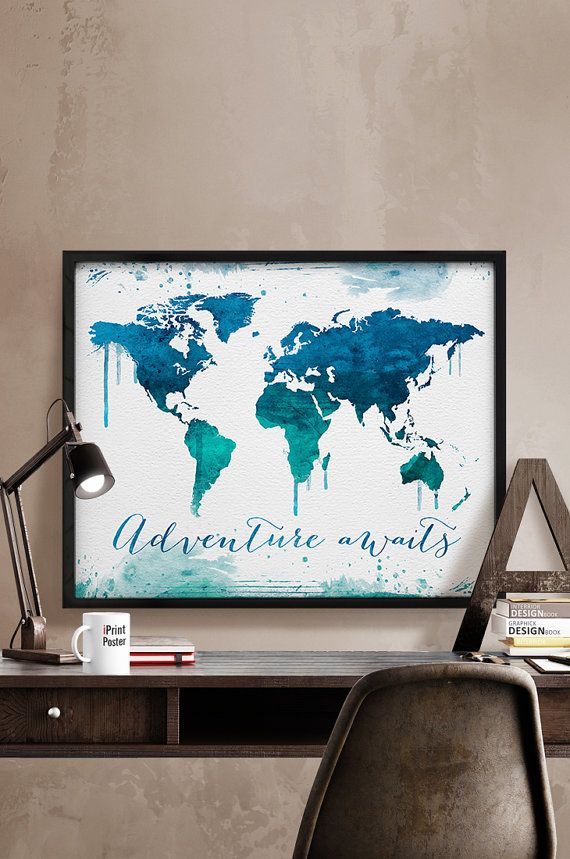 World map travel poster Watercolor World map print by iPrintPoster