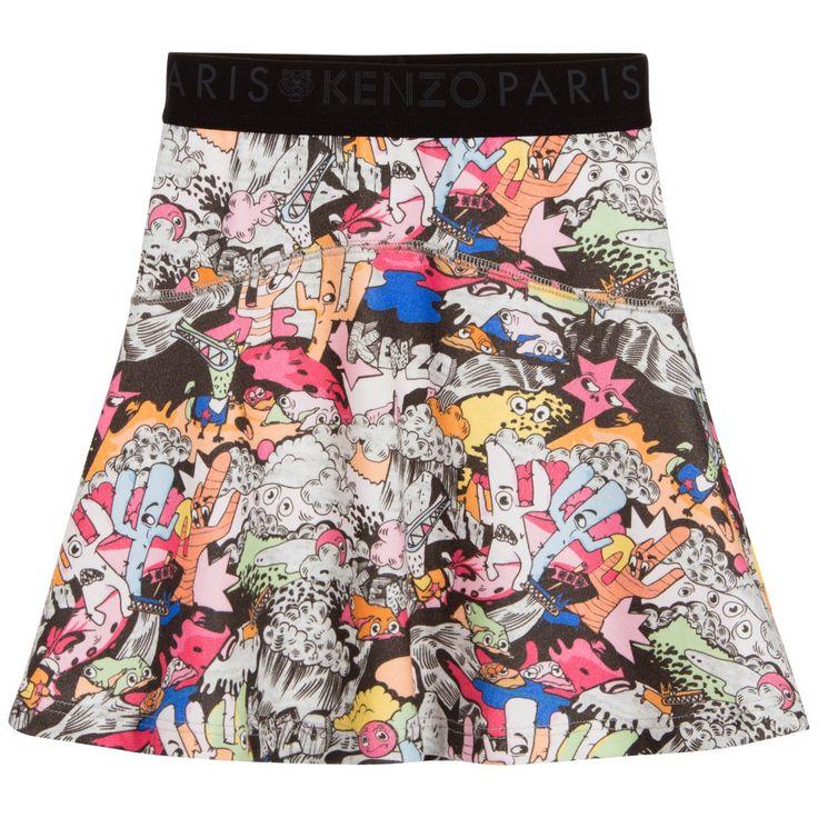 Kenzo Girls Cotton Cactus Print Skater Skirt at Childrensalon.com