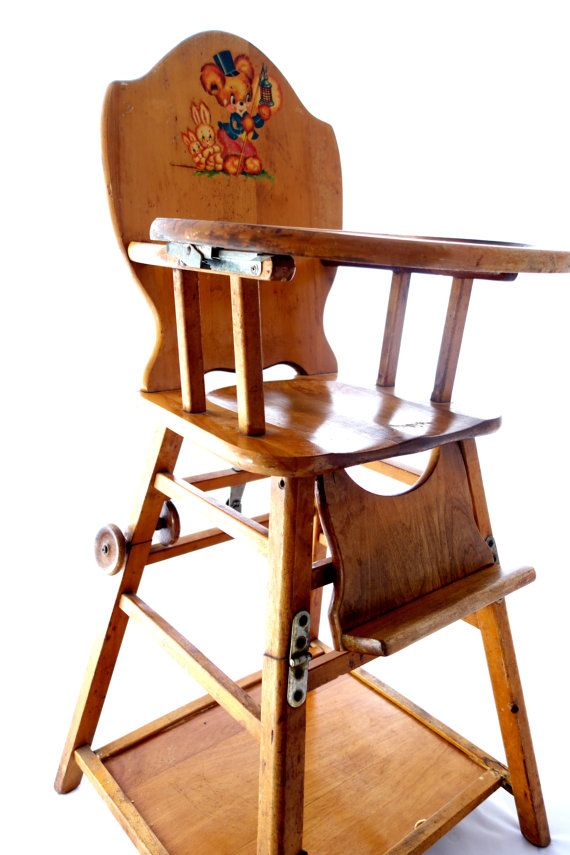 Antique Baby High Chair | Vintage Baby High Chair Converts to Low Play Chair / Desk on Wheels ...