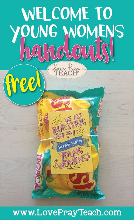 I love LovePrayTeach. There are so many great ideas & teaching helps.  I have been looking for a cute treat/handout to give to my yw & this is it!  Thanks LovePrayTeach!
