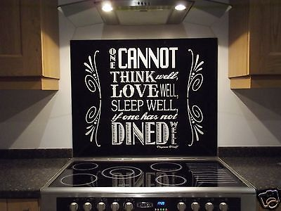 Black Glass Range Cooker Splashback, Virginia Woolf text IN ANY SIZE OR COLOUR!