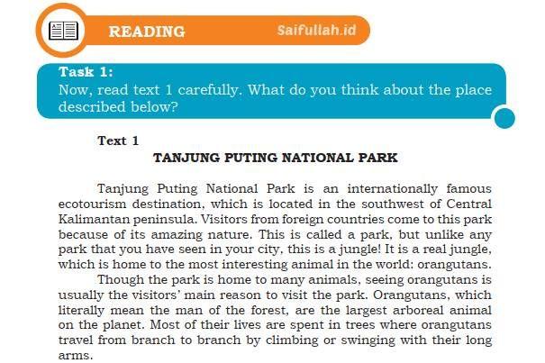 Terjemahan Teks Tanjung Puting National Park Chapter 4 Task 1 Halaman 53 Reading Kelas 10 Taman Nasional Teks Wonder