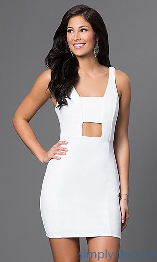 Shop short white dresses and rehearsal-dinner dresses at Simply Dresses. Club dresses with cut-outs, cruise wear and white party dresses.