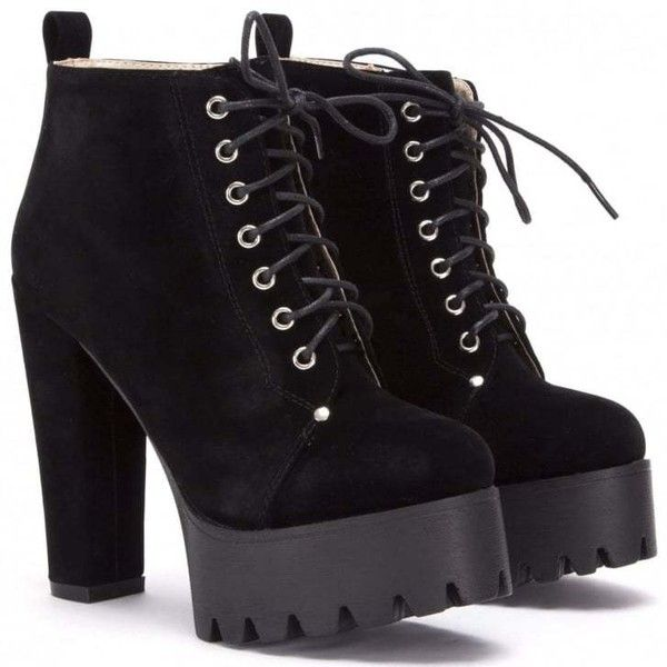 Koi Couture 1499-2 Black Suede ($39) ❤ liked on Polyvore featuring shoes, black block heel shoes, black laced shoes, kohl shoes, black shoes and platform shoes