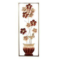 Metal floral wall art is beautiful cute and amazingly popular in homes across the world. Metal Flower wall art comes in many different sizes, stylish and colors. You can find traditional florals on canvas however you can find more abstract floral patterns that are attention getting and unique. #metalwallart #wallart #flowers   Flowers in Vase Metal Wall Art, Brown