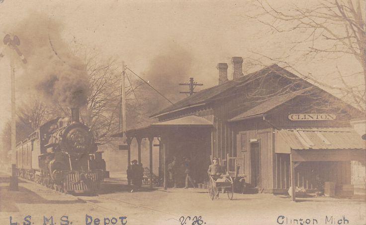 RP: Train pulling into L.S. M.S. Railroad Depot , CLINTON , Michigan