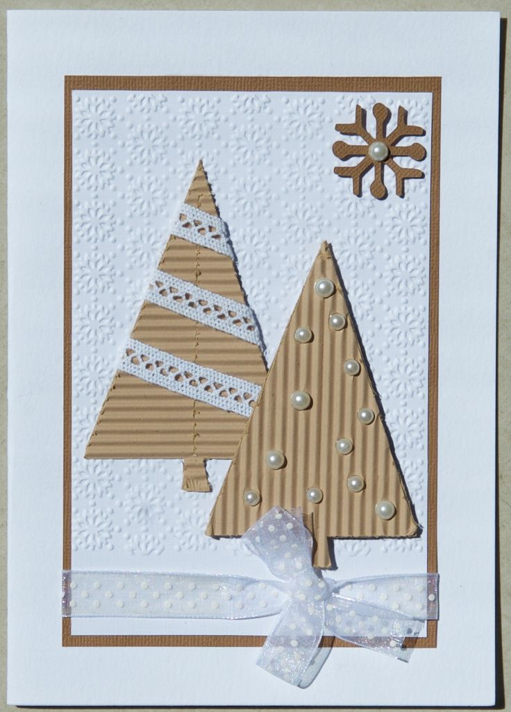 Christmas Card 2016: Trees cut from corrugated paper, from the Christmas Cheer Cricut cartridge.  Snowflake from the Joys of the Season Cricut cartridge; snowflake page embossed with a Spellbinders folder; Dovecraftt lace