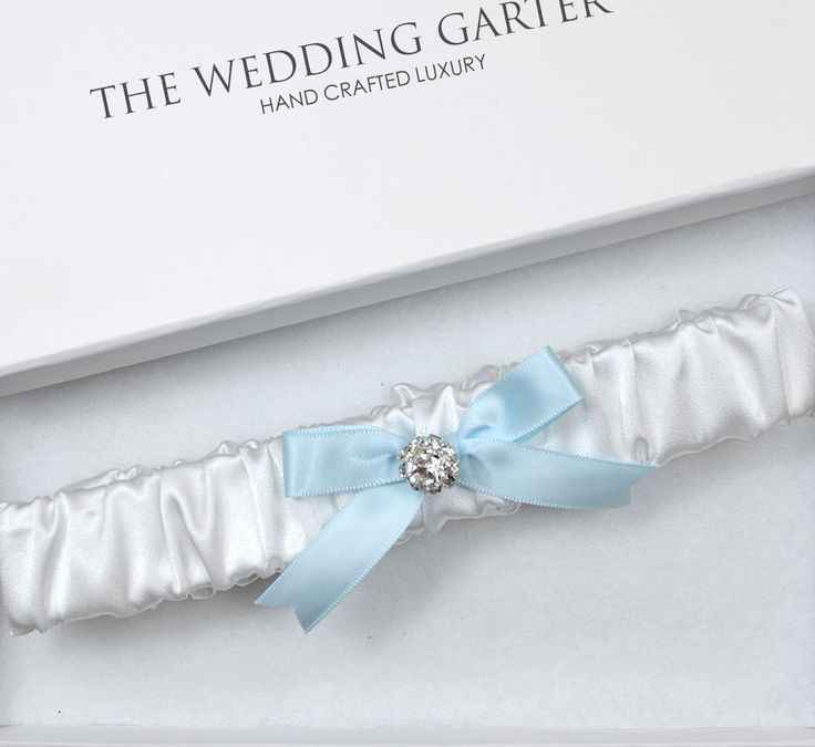 White Satin Wedding Garter, White Garter, Wedding Garter, Satin Garter, Rhinestone Garter, Bridal Garter, Blue Garter, Blue Wedding Garter by theweddinggarter1 on Etsy