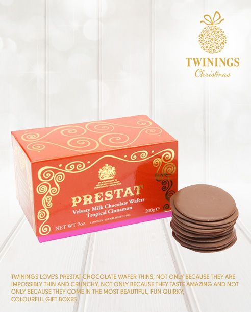 Twinings loves Prestat Chocolate wafer thins, not only because they are impossibly thin and crunchy, not only because they taste amazing and not only because they come in the most beautiful, fun quirky, colourful gift boxes.