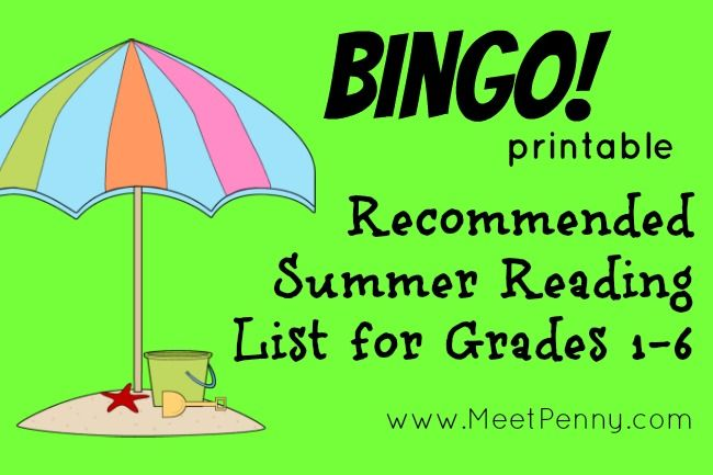 Recommended reading lists for each grade in a fun BINGO printable. Make a game out of summer reading!