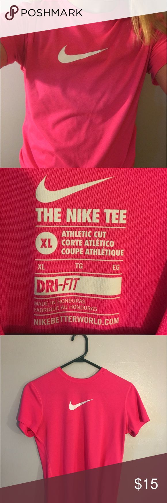 Short Sleeve Nike Active Wear * XL kids hot pink Nike shirt  * Kids XL , but can fit women's s or xs  * No stains * MAKE AN OFFER :) * I have a second Nike shirt identical to this, (blue) , so feel free to make a bundle!  * My Bundle Savings: 10% off 2 or more items Nike Tops Tees - Short Sleeve