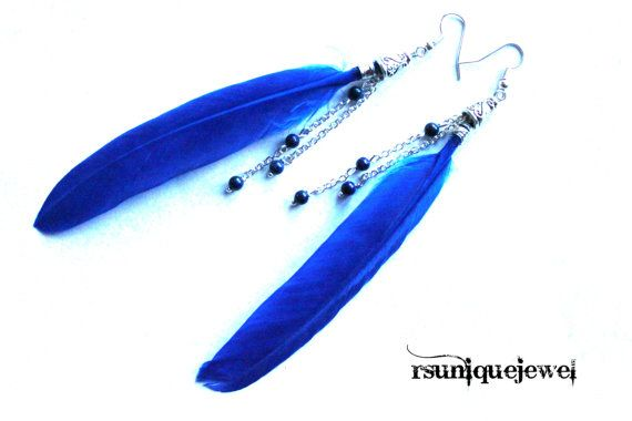 Blue feathers and Lapis Lazuli earrings Feathers by rsuniquejewel
