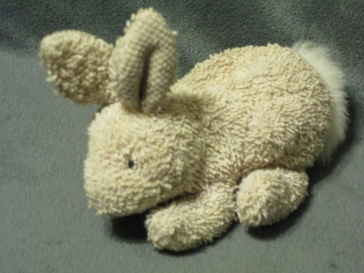 "HTF Russ Home Buddies Terry Cloth Bunny Rabbit Plush Beige Bean Bag #1062 5"" #RussBerrie"