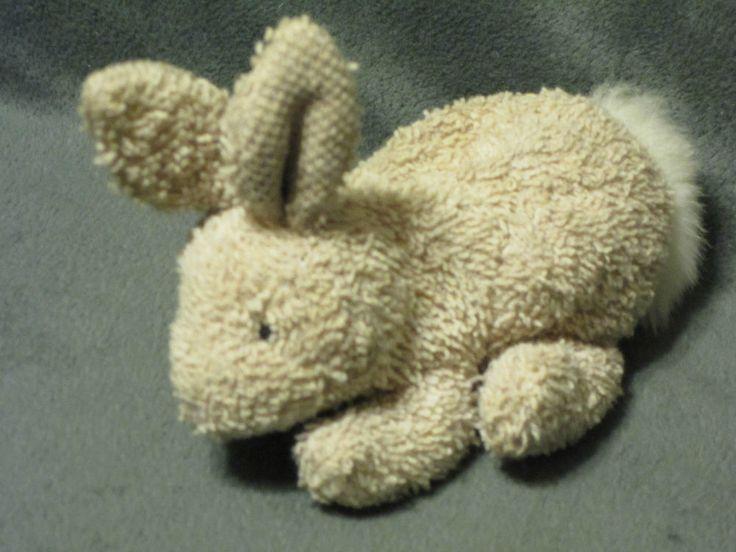 "HTF Russ Home Buddies Terry Cloth Bunny Rabbit Plush Beige Bean Bag #1062 5"" #RussBerrie"
