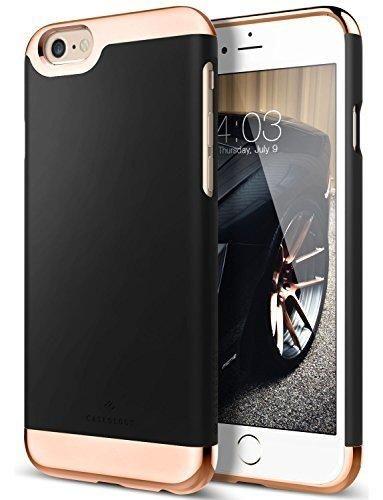 iPhone 6 Case Caseology [Savoy Series] Chrome / Microfiber Slider Case [Black] [Premium Rose Gold] for Apple iPhone 6 (2014) & iPhone 6S (2015) - Black