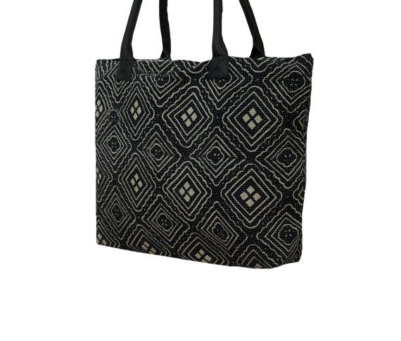 Black Hand Stitch Kantha Work Tote Bag Ethnic by MyCraftPalace