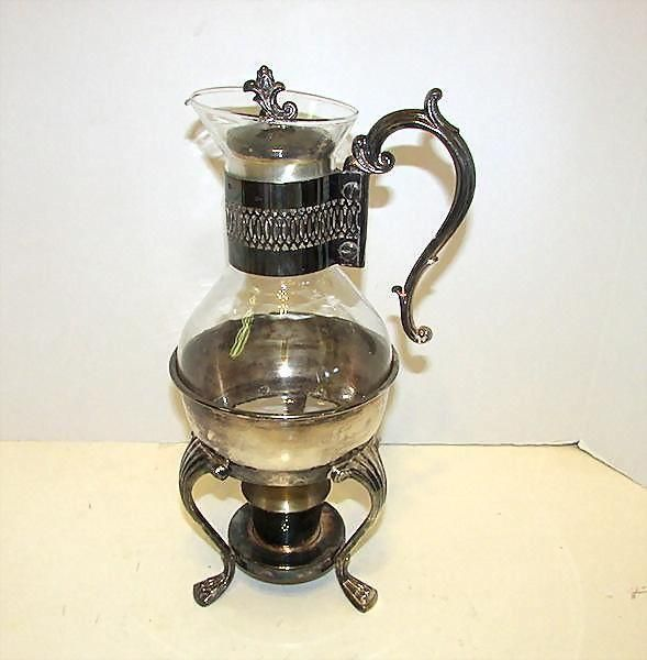 Vintage FB Rogers Silver Plate Glass Coffee Tea Pot on Stand Carafe with Warmer Victorian Style