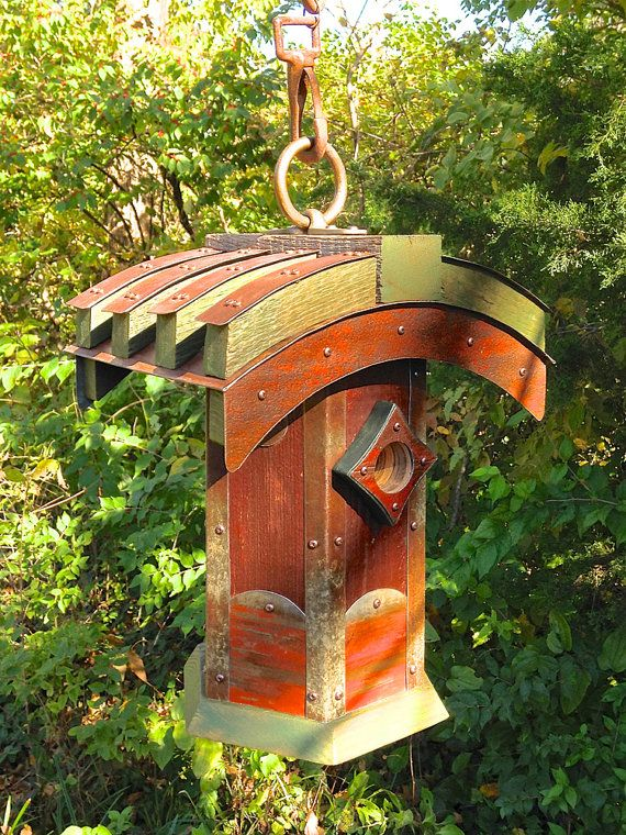 The Bridge: Hexagonal Japanese-Style Birdhouse From Reclaimed Barnwood and Metal Roofing--MADE TO ORDER