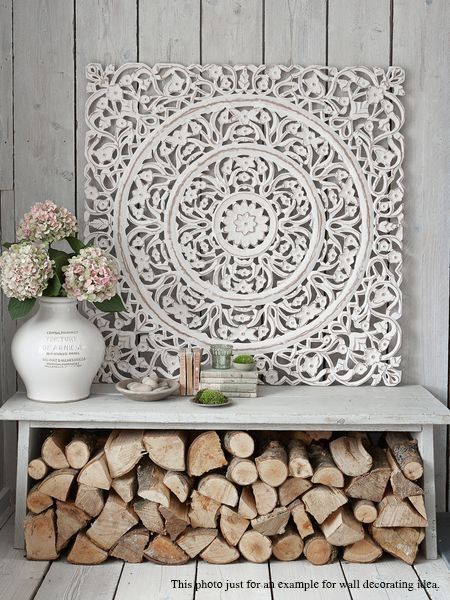 White Wash Wood Carving Wall Art Panel. Wall Hanging. Lotus Wood Carved Plaque…