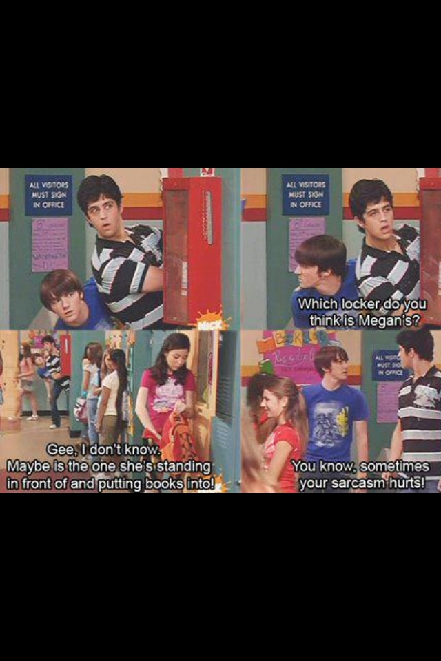 """Drake and Josh. """"You know, sometimes ur sarcasm hurts"""" he said hurtfully. So funny"""