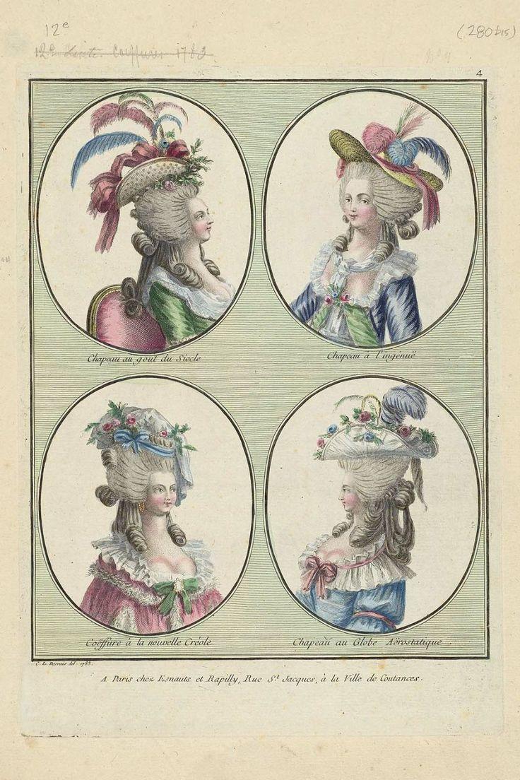 1785 Chapeau au gout du Siecle, Chapeau à l'ingènuë, Coëffure à la nouvelle Créole, Chapeau au Globe Aërostatique