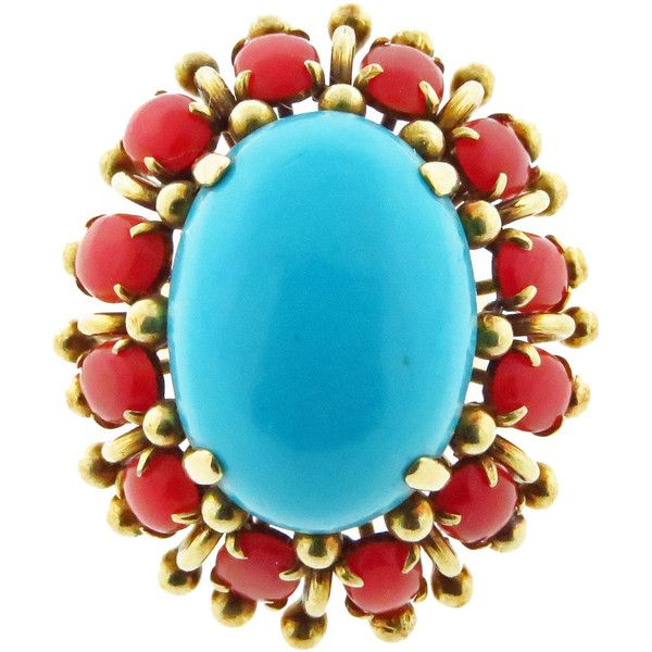 Preowned High Impact Turquoise Coral Gold Ring ($1,675) ❤ liked on Polyvore featuring jewelry, rings, red, yellow gold rings, red gold ring, gold jewelry, gold rings and turquoise jewelry