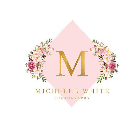 Premade Logo Design Branding Professional Clean Blush Pink and Gold Foil…