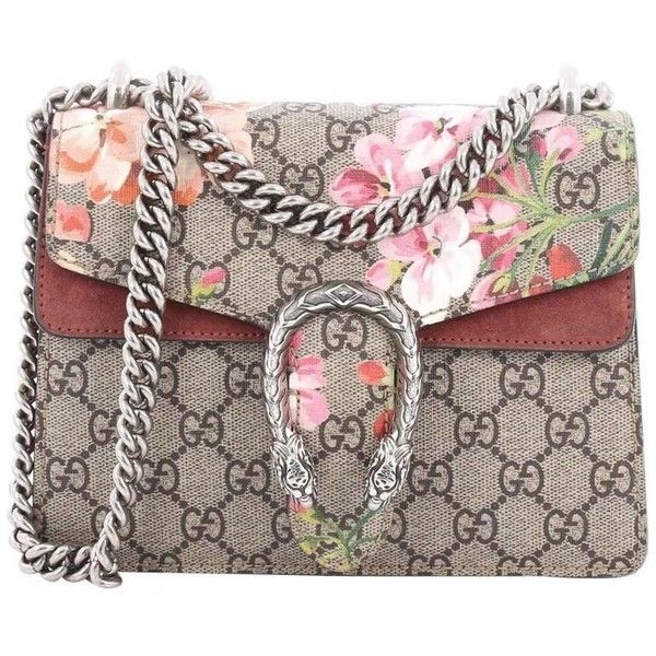 Preowned Gucci Dionysus Handbag Blooms Print Gg Coated Canvas Mini (£975) ❤ liked on Polyvore featuring bags, handbags, brown, top handle bags, brown hand bags, chain strap purse, chain strap handbags, floral handbags and gucci purse