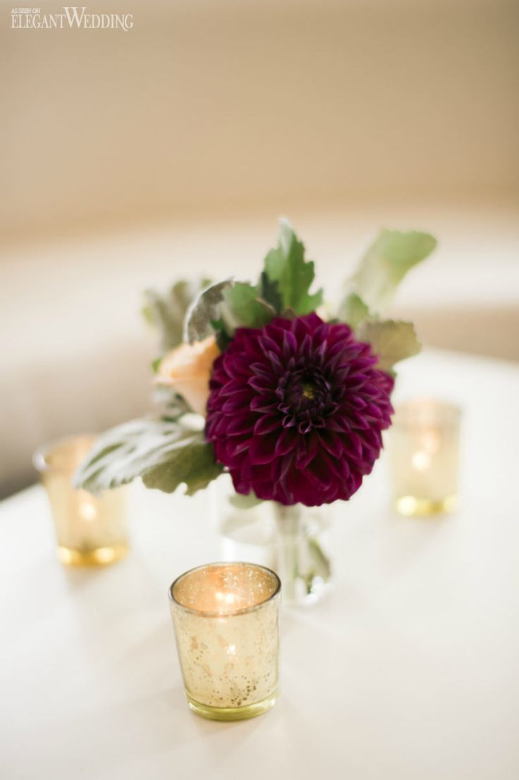Gold and purple wedding flowers and decor, table decor, mercury glass candle holders, urban wedding URBAN GOLD & PURPLE FALL WEDDING www.elegantwedding.ca