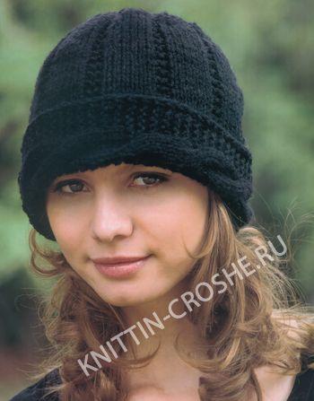 Для вязания спицами женской шапки потребуется  200 г пряжи средней толщины (100 % акрил) че