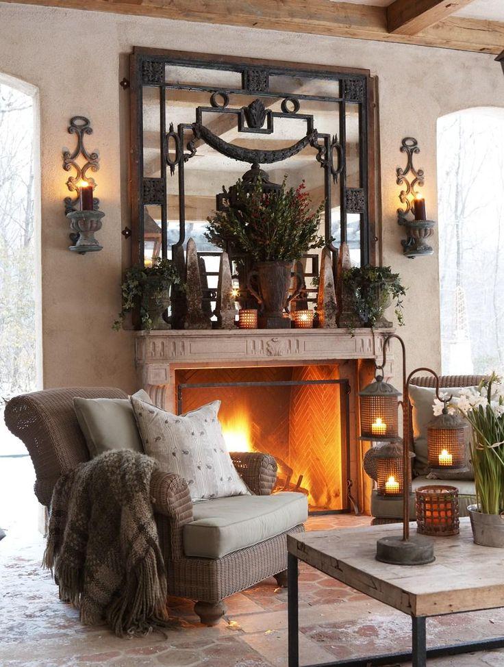 Cozy: Diy Home Decor, Dreams Home, Mantles Mirror, Decor Ideas, Rustic Decor, Interiors Design, Outdoor Living Spaces, Indoor Fireplaces, Living Rooms Fireplaces