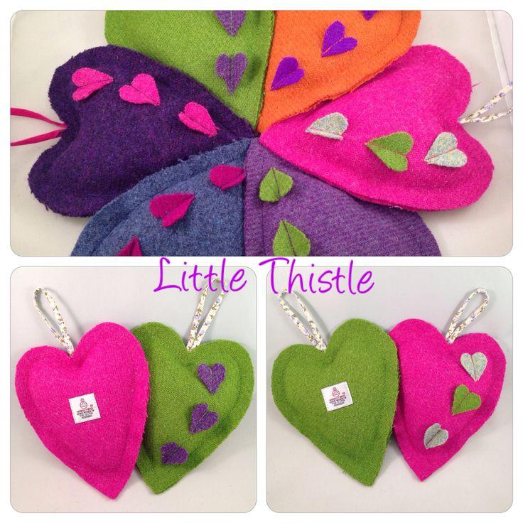 Harris Tweed lavender hearts  www.littlethistle.co.uk