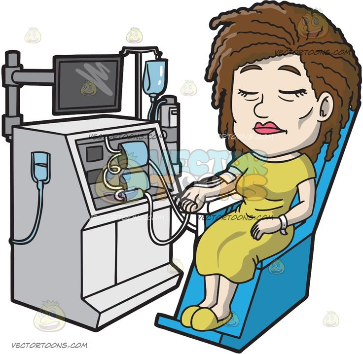 A Female Patient Undergoing Dialysis :  A female patient with brown hair wearing a yellow green dress slippers sitting on a blue chair with tubes connected to her right arm as she goes under a dialysis procedure  The post A Female Patient Undergoing Dialysis appeared first on VectorToons.com.