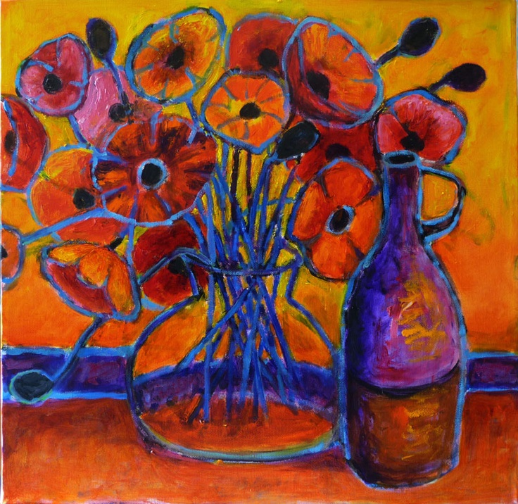 "'Poppy Time"" by Jeremy Holton    ""Evening and the room is filled with the sound of music and voices.  The poppies come alive and dance with scintillating colours.  Its party time.""    #flower #poppy $700"