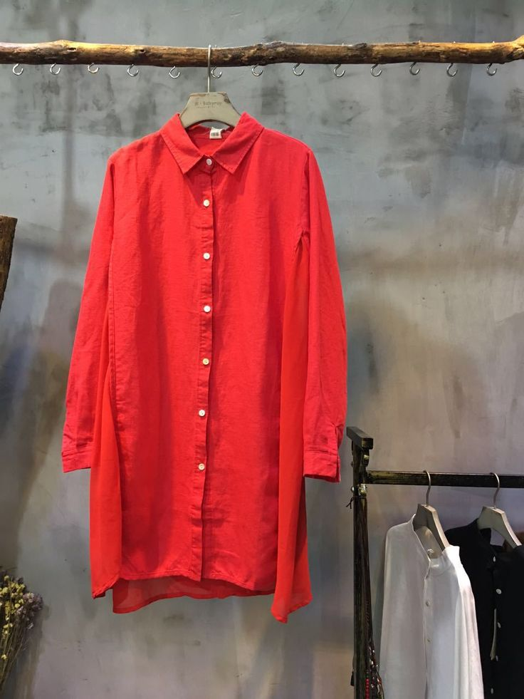 Pure Color Chiffon Matching Long Blouse Casual Flax Clothing    #long #causal #blouse #red #linen #chiffon #flax #wholesale #retail #boutique