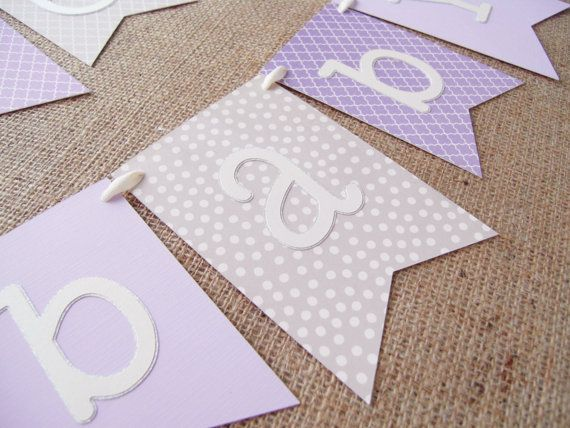 Purple Gray and Lavender Baby Shower Banner by JacqsCraftyCorner