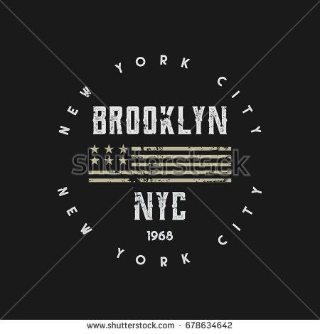 Vector illustration on a theme of New York City, Brooklyn. Vintage design. Grunge background. Stylized American flag. Stamp typography, t-shirt graphics, poster, banner, print, flyer, postcard