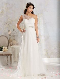 Beautiful one shoulder illusion wedding gown Alfred Angelo Style 8544: vintage inspired net wedding dress with a draped one shoulder strap with crystal beading