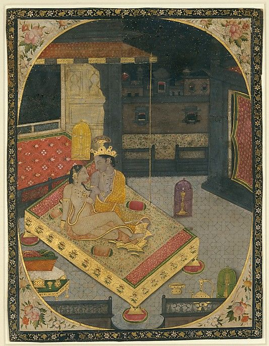 Radha and Krishna on a Bed at Night Date: ca. 1830 Culture: India (Punjab Hills, Sirmur) Medium: Ink and opaque watercolor on paper Dimensions: 7 3/8 x 9 3/4 in. (18.7 x 24.8 cm) Classification: Paintings Credit Line: Gift of Cynthia Hazen Polsky, 1985 Accession Number: 1985.398.13