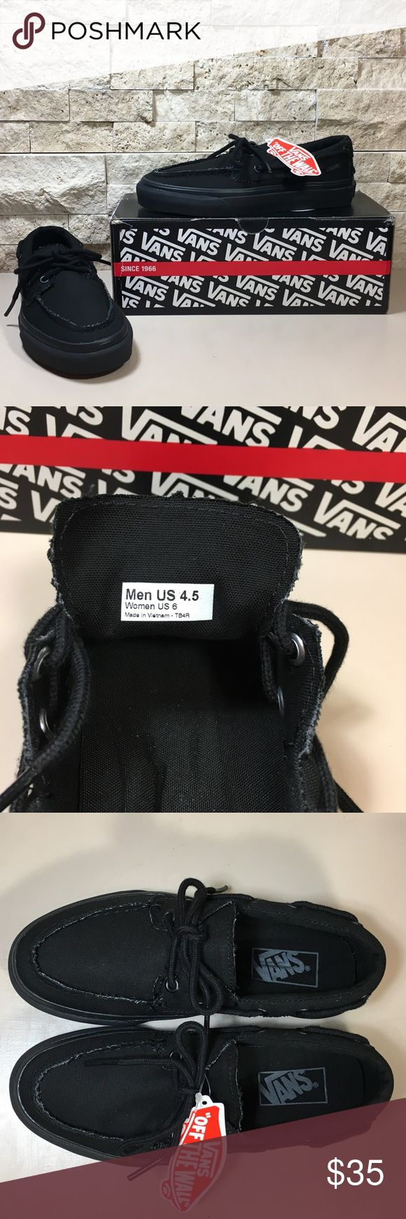 Vans Zapato Del Barco Black Shoes Vans Zapato Del Barco black canvas boat skate shoes sneakers. New with tags and box. Womens size 6, Men's size 4.5.  f175 Vans Shoes Sneakers