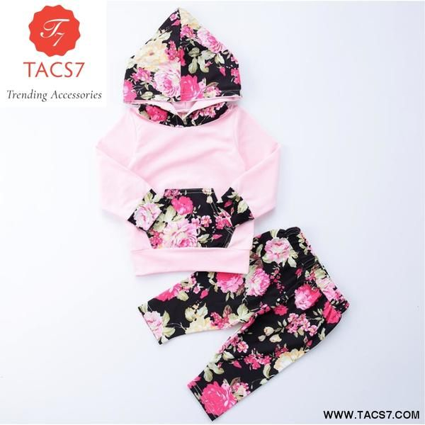 60be7c5c1 Floral Newborn Infants Baby Girl Clothes Set Tops Hoodies Long ...