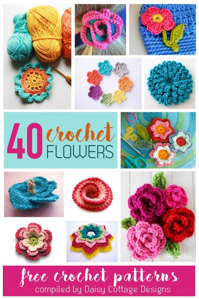 40 bright and beautiful Free Flower Crochet Patterns compiled by Daisy Cottage…