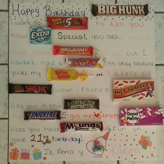 Boyfriends Birthday Card Candy Candycard Diy