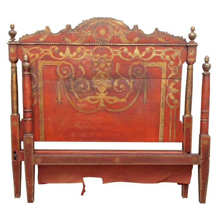 Painted And Gilded Italian Bed