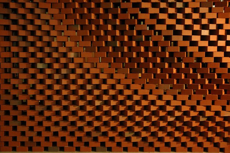 Detailansicht der Wand. Die einzelnen Steine werden nach einem Algorithmus um ihre Mittelachse gedreht.