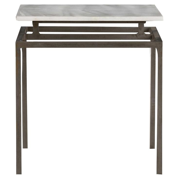 Caius Industrial Iron Floating White Marble End Table   Kathy Kuo Home