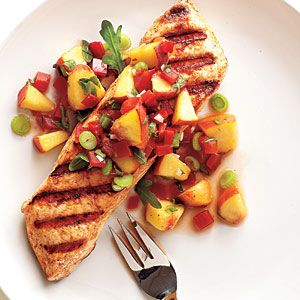 25 Best Seafood Recipes   Grilled Halibut with Peach and Pepper Salsa   CookingLight.com