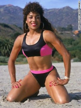 Olympic runner Florence Griffith Joyner and the sporty influence on bathing suit fashion in the late 1980s
