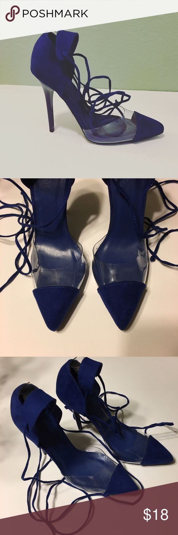 "Charlotte Russe Blue Lace Up Heels Charlotte Russe Blue Lace Up Heels ~ Size 8 ~ These are new without tags. ~ Lace Up Around The Ankle ~ 4"" heel Charlotte Russe Shoes Heels"