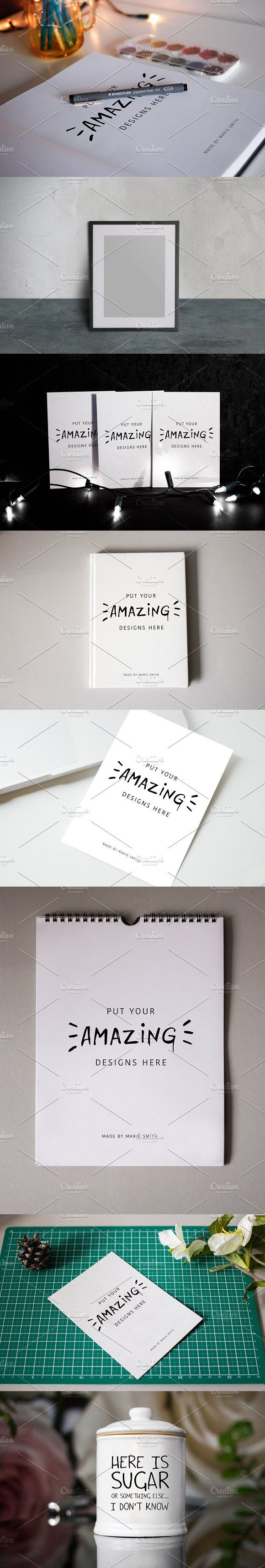 8 mixed mockups. Wedding Card Templates